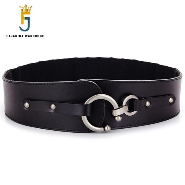 3abd1bdf32a FAJARINA Quality Ladies Luxury Women Decorative Elastic Cowskin Genuine  Leather Belts for Women Wide Waist Skirt