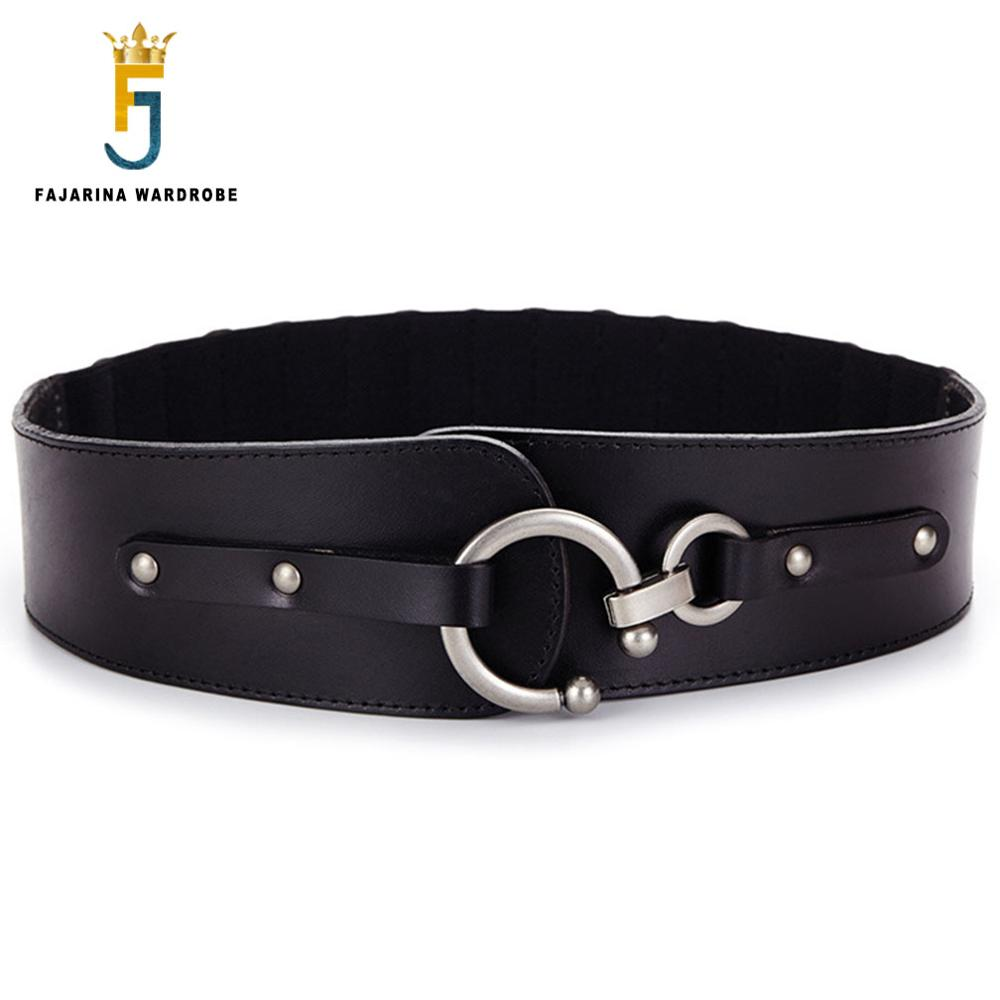 FAJARINA qualité dames de luxe femmes décoratif élastique peau de vache en cuir véritable ceintures pour femmes taille large jupe ceinture N17FJ083