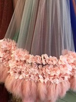 2018 nude pink new style 3D fabric wedding dress with ostrich feather wedding decoration exquisite trim photo props 5yard