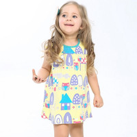Little maven children brand clothes 2017 new summer baby girls clothes kids Cotton tree house print dress S0008