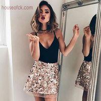 China Goedkope Bing rok Meisje Party rok 2016 nieuwe collectie vrouwen winter rok korte rok Bling sequind goud zilver Een line