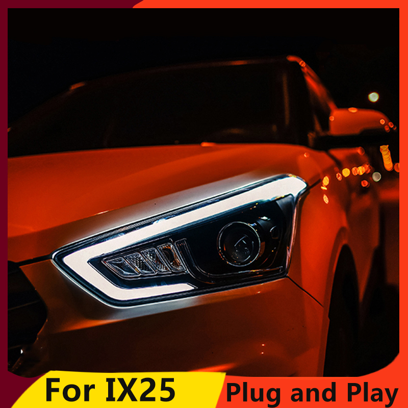 Image 3 - KOWELL Car Styling for Hyundai IX25 Headlights 2015 2017 Creta LED Headlight DRL Daytime Running Light Bi Xenon HID Accessories-in Car Light Assembly from Automobiles & Motorcycles