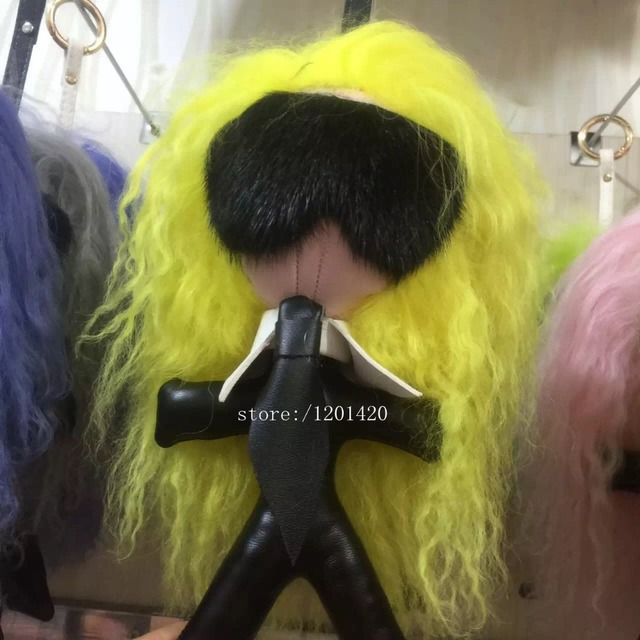 candy yellow  hair Karl doll tote charm handbag New eye monster Woman bag charm keychain fur Key ring golf lambskin fashion gift