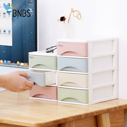 BNBS Macaron Color Small Drawer Storage Box 3/4 Layers Draw-out  Organizer Desktop Sundries Container Makeup Jewelry Box