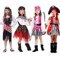 Хэллоуин Карнавал Партия Костюм для Девочки Девушка Дети Дети Пиратские Костюмы Фантазия Infantil Косплей Одежда