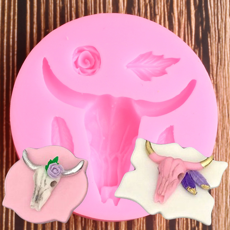 Cabeça de touro molde de silicone folha rosa flor fondant moldes cupcake ferramentas de decoração de argila de polímero molde de chocolate doces gumpaste ferramenta