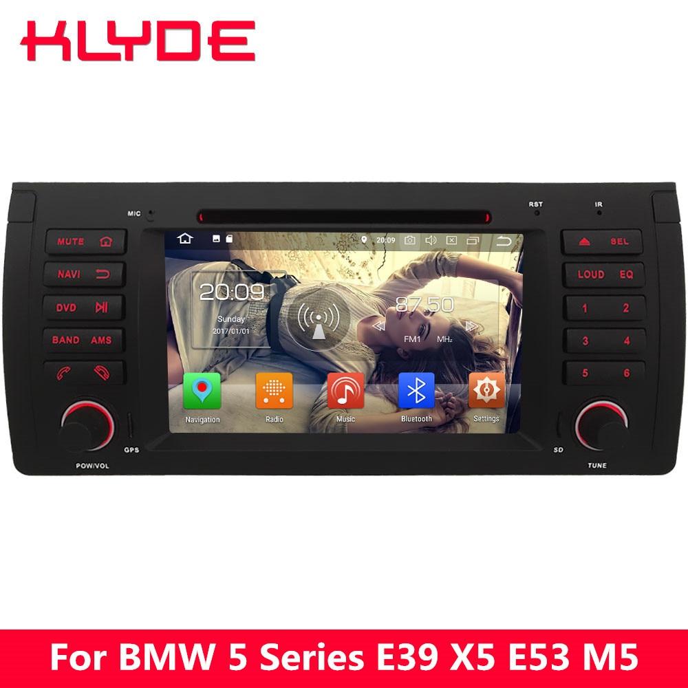 KLYDE 4G Android 8.0 7.1 Octa Core 4GB RAM 32GB ROM BT Car DVD Player Radio GPS Navigation For BMW X5 M5 5 7 Series E38 E39 E53 m5 44 29 bm bt silv2 black