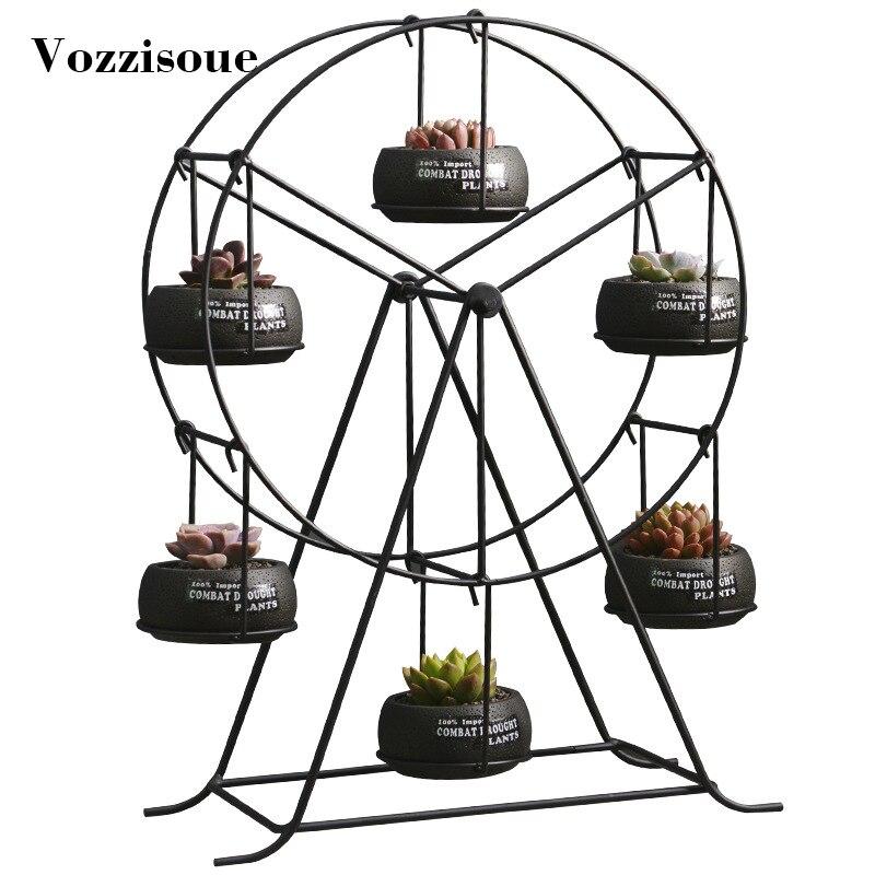 Jardinière succulente en édition limitée porte-plantes en fer à grande roue ensemble jardinières d'intérieur pour Pots de décoration de Vase