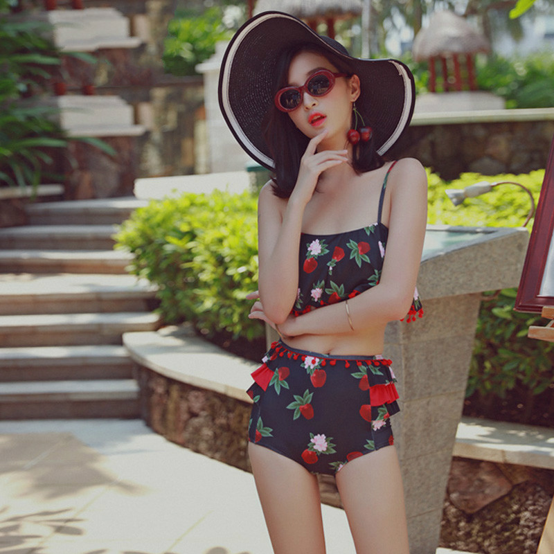 NIUMO NEW Woman Swim Swimsuit Two-piece Swimsuit Spa Sexy Bikini Beach Flat Angle Small Chest Gather Together Swimwear