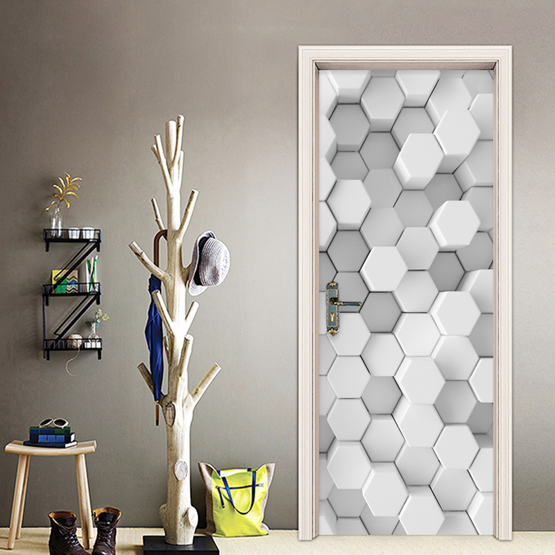 PVC Self-Adhesive Waterproof Wall Door Sticker 3D Creative Mosaic Geometric Lattice Wallpaper Living Room Kids Bedroom Stickers