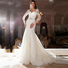 Lace Backless Wedding Dress 2016 New Sweetheart Appliqued vestido de noiva renda robe mariage Long Sleeve Gowns