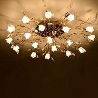 T 유럽 스타일 프로스트 크리스탈 천장 거실 침실 원격 제어 럭셔리 장미 램프 홈 조명