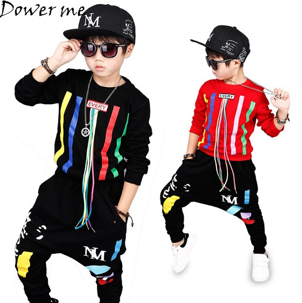 Autumn Baby Boys Hip Hop Clothing Set Kids Color Bars Printing Dancing Clothes Children Sport Suit Tops+Harem Pant 2 Pcs 3-14Y купить
