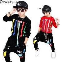 Autumn Baby Boys Hip Hop Clothing Set Kids Color Bars Printing Dancing Clothes Children Sport Suit