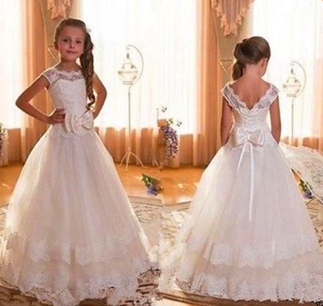9ee7d7cf8c6 Cheap Cap Sleeve Backless Ivory Lace Flower Girl Dresses For Weddings 2016  Bow Floor Length First