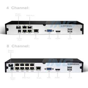 POE HD 1080P 4 / 8 Channel Network Video Recorder 48V 802.3af Standard HDMI 4 / 8 CH CCTV NVR ONVIF P2P System for IP Camera