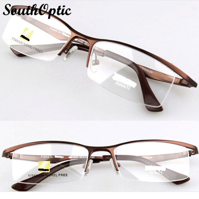 100% Pure Titanium Half Frame Glasses Titanium Optical Frame Eyes Glasses gafas monntura Frame Glasses Myopia marcos ojos 9880