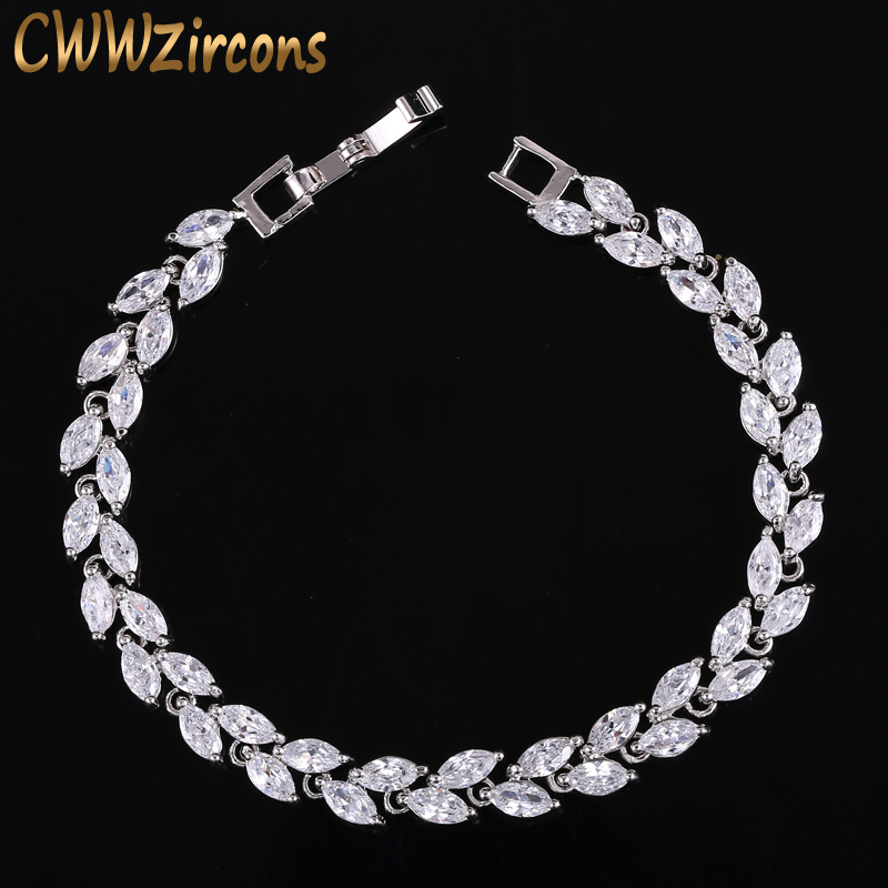 CWWZircons New Trendy 2019 Cubic Zirconia Jewelry Silver Silver Leaf Charm CZ Crystal Female Bracelets Bangles For CB060