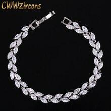 CWWZircons New Trendy 2019 Cubic Zirconia Jewelry Silver Color Leaf Charm CZ Crystal Female Bracelets Bangles for Women CB060