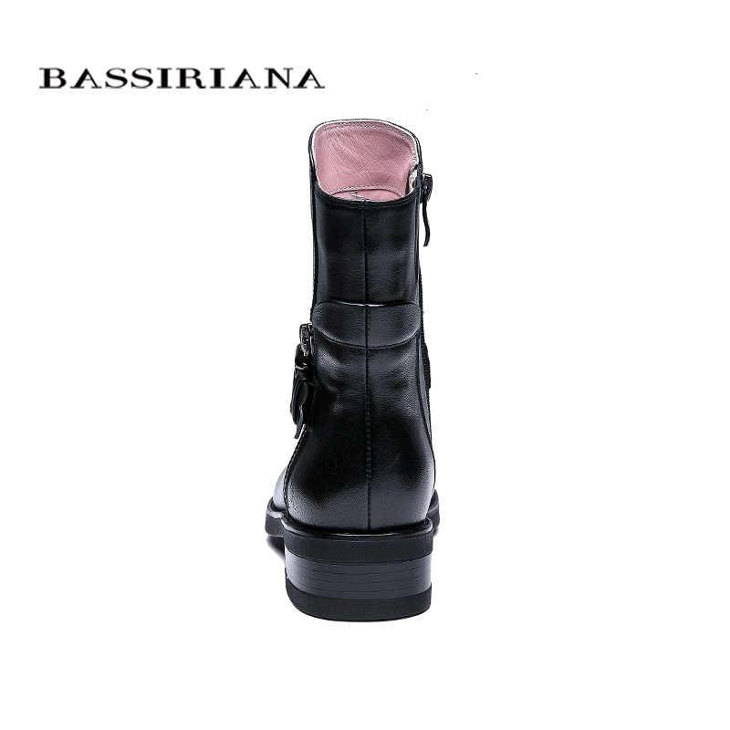 BASSIRIANA Yeni 2018 hakiki deri ayakkabı kadın koyun derisi yarım çizmeler marka yuvarlak ayak zip toka bahar Sonbahar siyah 35-41 boyutu