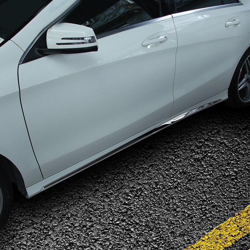 Pour mercedes-benz W205 voiture autocollants porte en acier inoxydable brillant bande C-CLASS W205 côté jupe accessoires décoratifs - 6