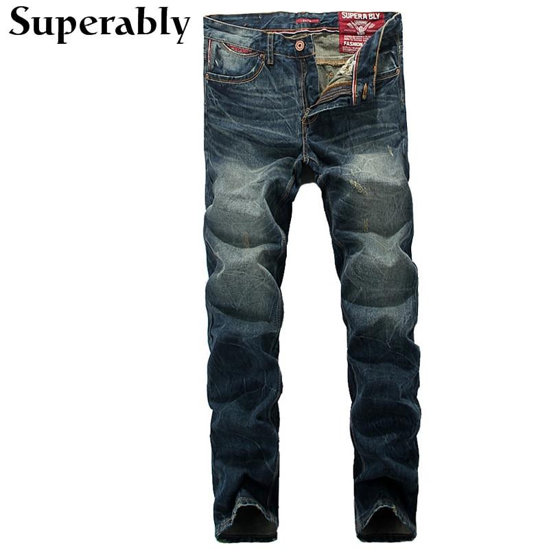 ФОТО Superably Brand Men Jeans High Quality Blue Color Slim Fit Stripe Jeans Mens Pants Fashion Designer Classic Denim Jeans Male