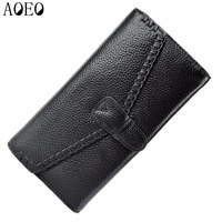 AOEO Genuine Leather Women Wallet Dollar Price Phone Pocket Card Holder Female Zipper Clutch Coin Purse