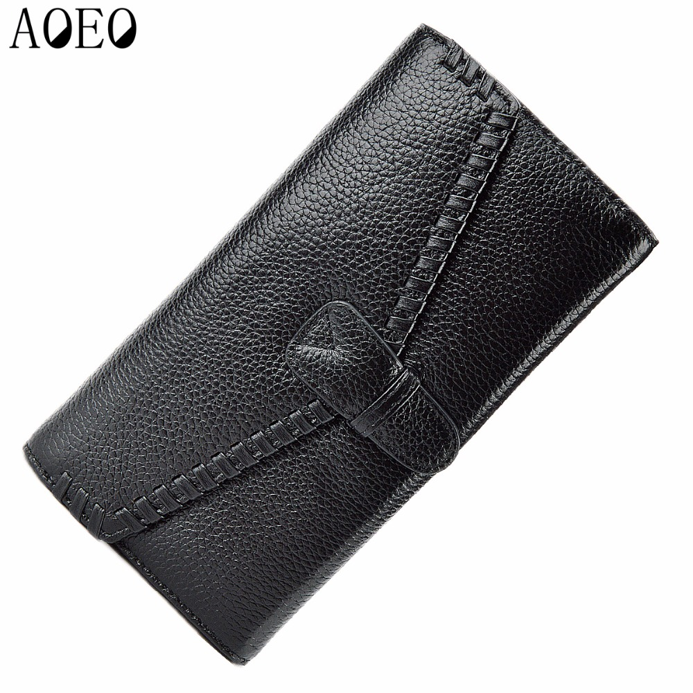 AOEO Genuine Leather Women Wallet Dollar Price Phone Pocket Card Holder Female Zipper Clutch Coin Purse Ladies slim wallets wristlet travel women long wallet double zipper female clutch coin card phone card holder brand leather casual dollar cute purse