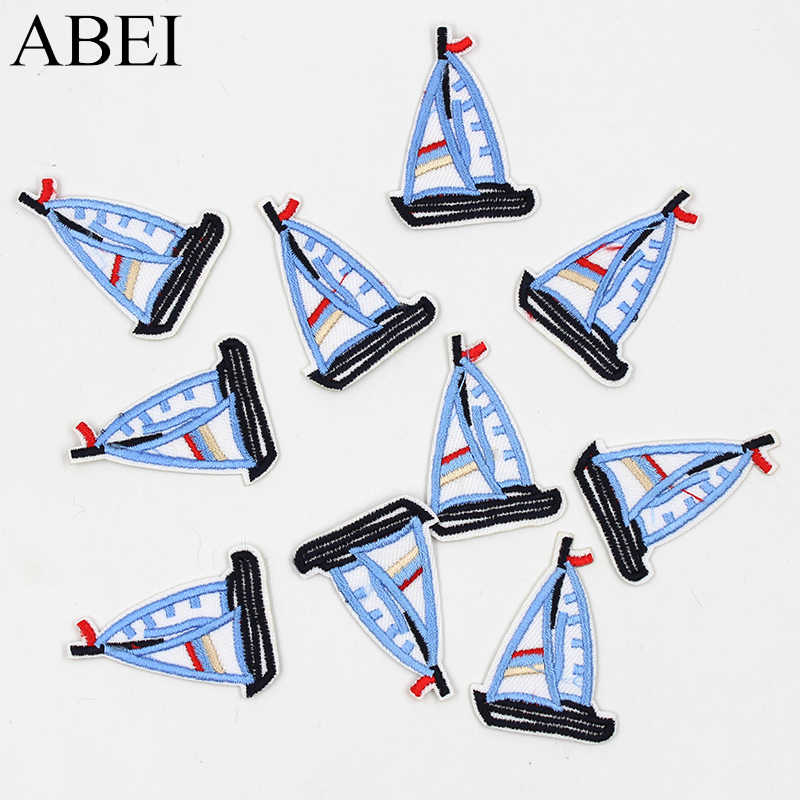 10pcs/lot Cartoon Blue Sailboat Patches Embroidered iron-on Appliqued Kids Apparel Bags Shoes Stickers DIY Patchwork Material