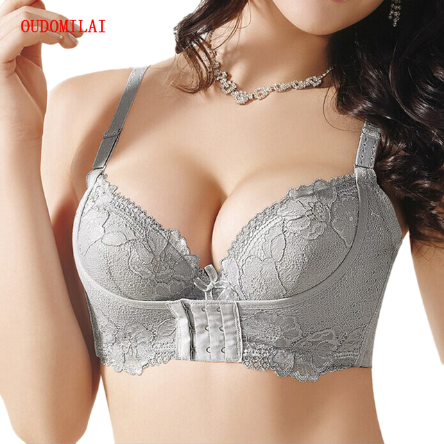 cda82ee751d OUDOMILIA Bras For Women Super Push Up Bra Small Breast Thick Lace  Brassiere Water Padded Woman Underwear pushup bra Lingerie Bh