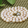 Hot sale charms natural orange pearl beads 7-8mm choker necklace for women wholesale price elegant chain jewelry 18imch B3185