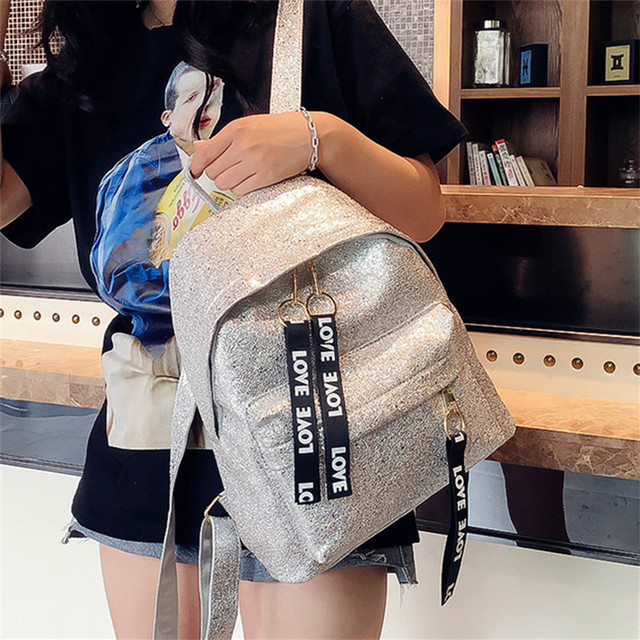 2018 summer Shiny backpack female Korean version of the campus campus student bag fashion letter backpack bag tide