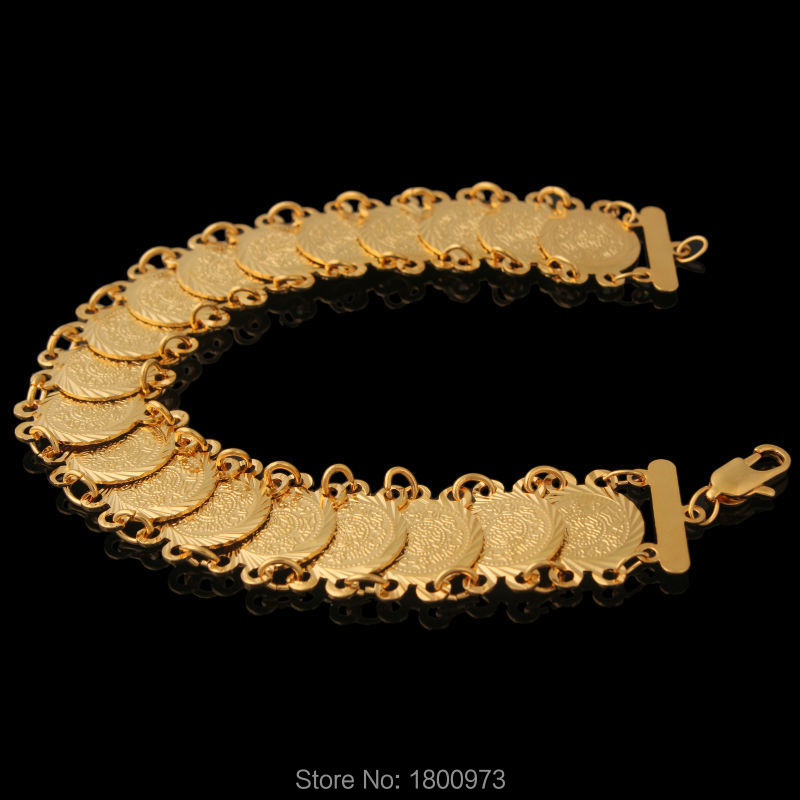 New Trendy Coin Money Bracelet . Gold Color Link Chain For Women Islamic Arabic Middle East ,African Jewelry Men Beat Gifts ...