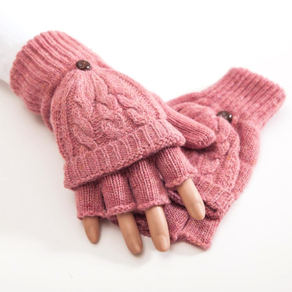 Women Autumn Winter Soft Gift Thicken Gloves Knitted Artificial Wool Hand Warmer Flip Mittens Thermal Half Finger 1 Pair