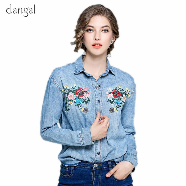 ca9cf4382e8 Denim Shirt With Embroidery Shirt Women Jeans Embroidered Womens Shirts  Female Turn Down Long Sleeve Rounded Hem Wholesale