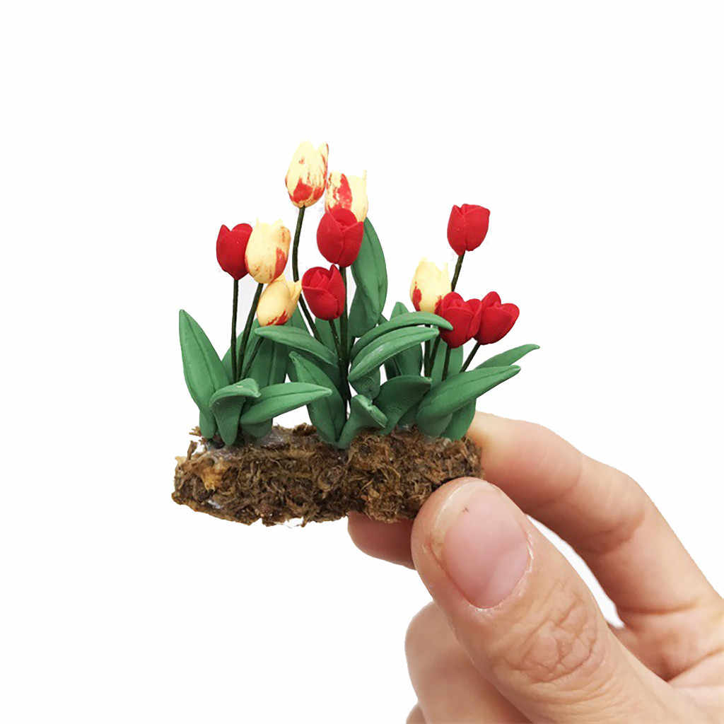 Fake Mini Dollhouse Miniature Green Plant Flower in  Pot Fairy Garden Accessory