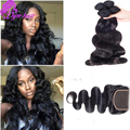Grade 10A Malaysian Human Hair 3 Bunldes With Closure OYM Hair Body Wave With Closure Cheap Malaysian Virgin Hair With Closure