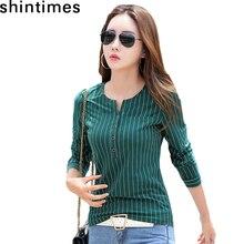 цена на 2019 Autumn New Korean Fashion Female Tshirt Pockets Striped T shirt Women Button V-Neck Top Cotton Long Sleeve Tee Shirt Femme