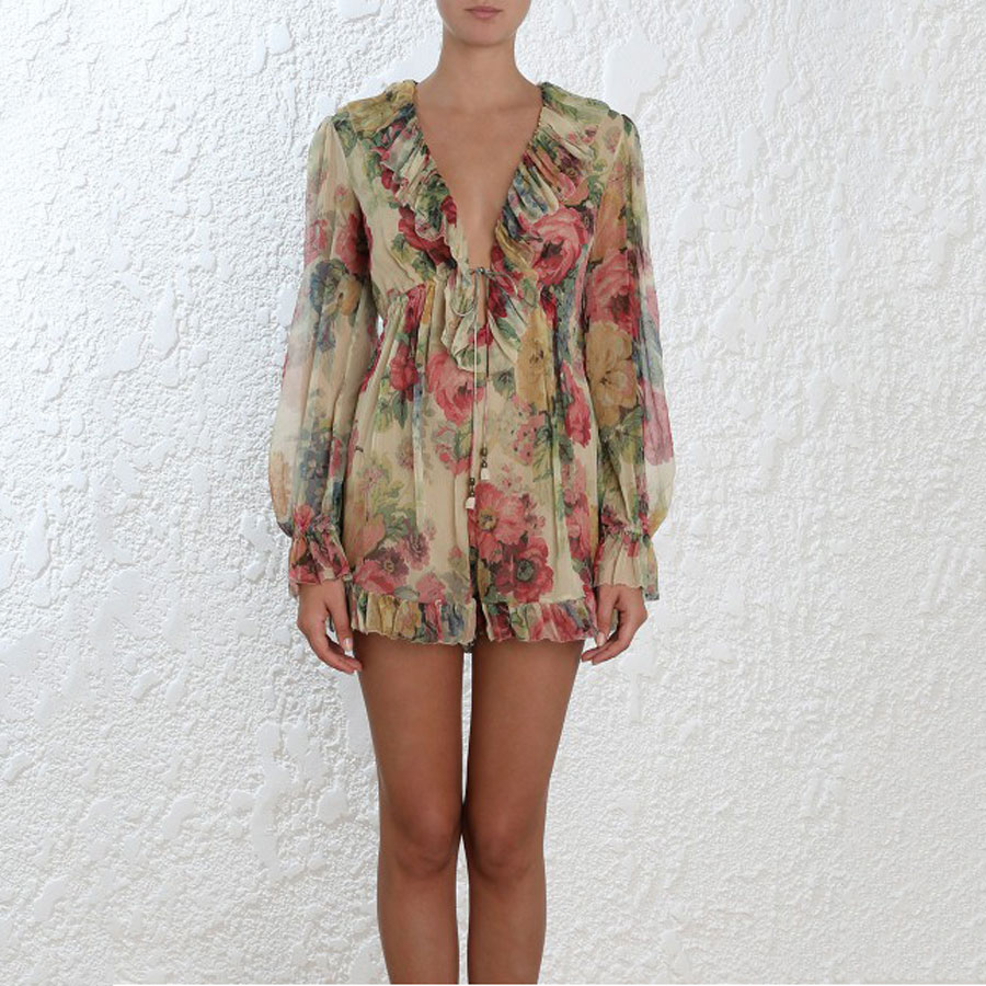 2018 Summer Vacation Beach Style Women Boho Romper V-neck Sleeve Long Flower Print Chiffon Casual High Quality Women Playsuit ...