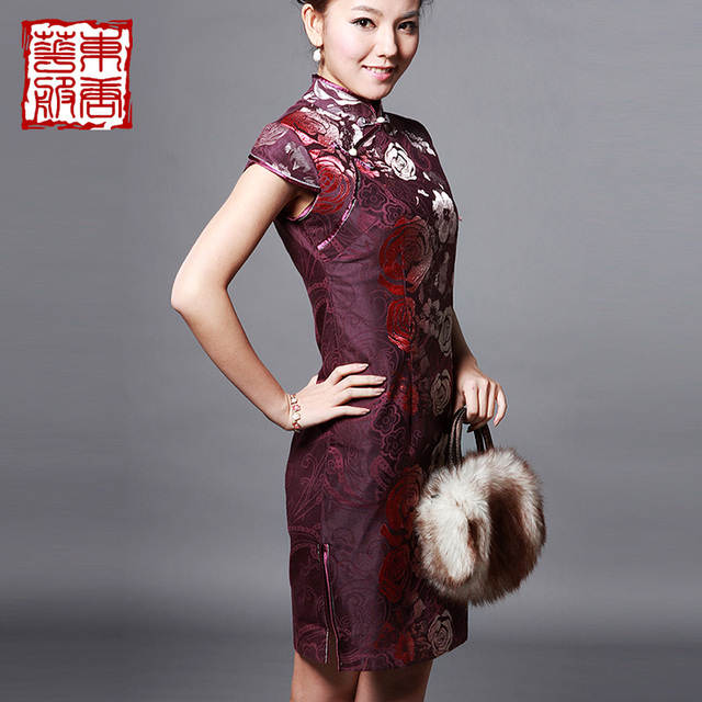 Magnificently comfortable and soft material chinese style rose of improved cheongsam - jade