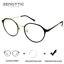 ZENOTTIC Alloy Women Prescription Glasses Retro Round Eyelas