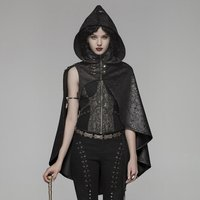 Punk Rave Women's Goth Faux Leather Lacing Witch Cloak With Hood WY1051DPF