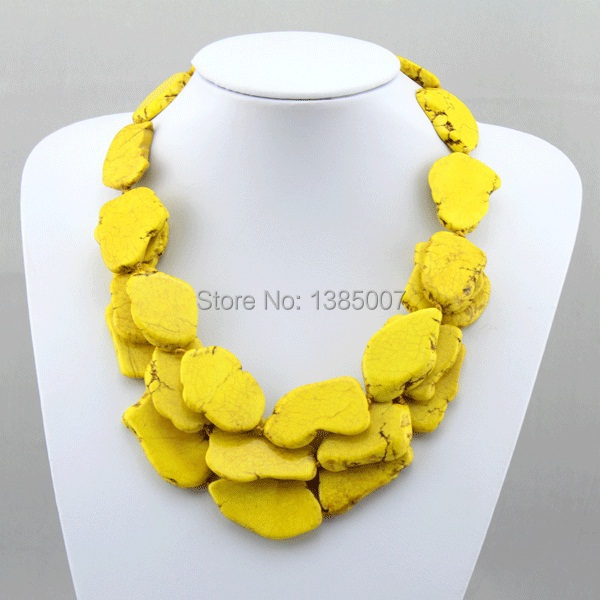 High Quanlity Yellow beautiful Jewelry Necklace 3 Row beautiful Necklace beautiful Beads Necklace Party Necklace Wedding Gift