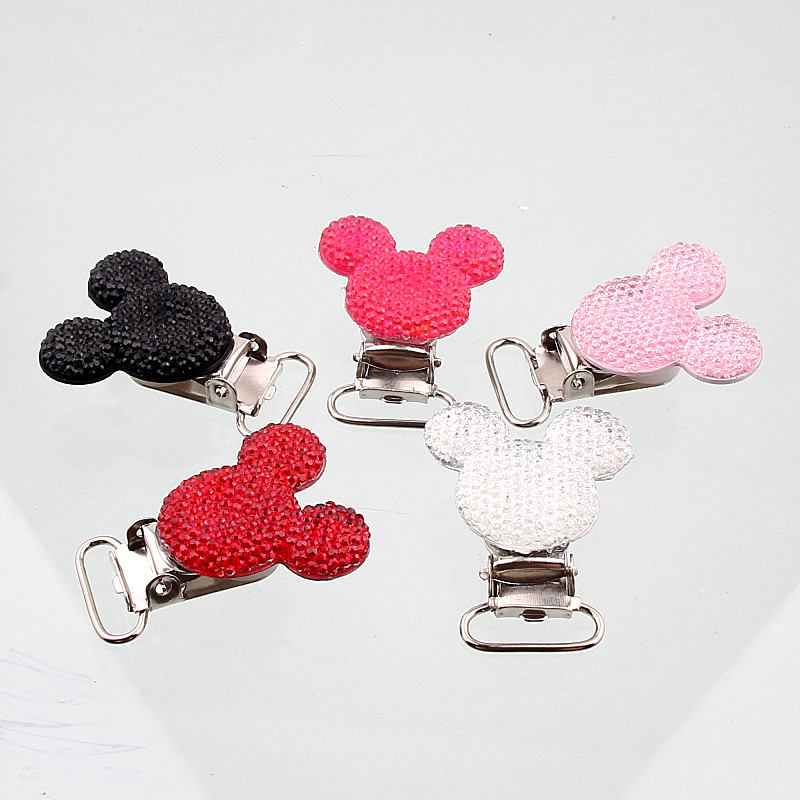 Handmade 5pcs Stainless Steel Child Nipple Funny Pacifier Lovely Resin Mouse Baby Pacifier Clips Holders Pacifier Clasps