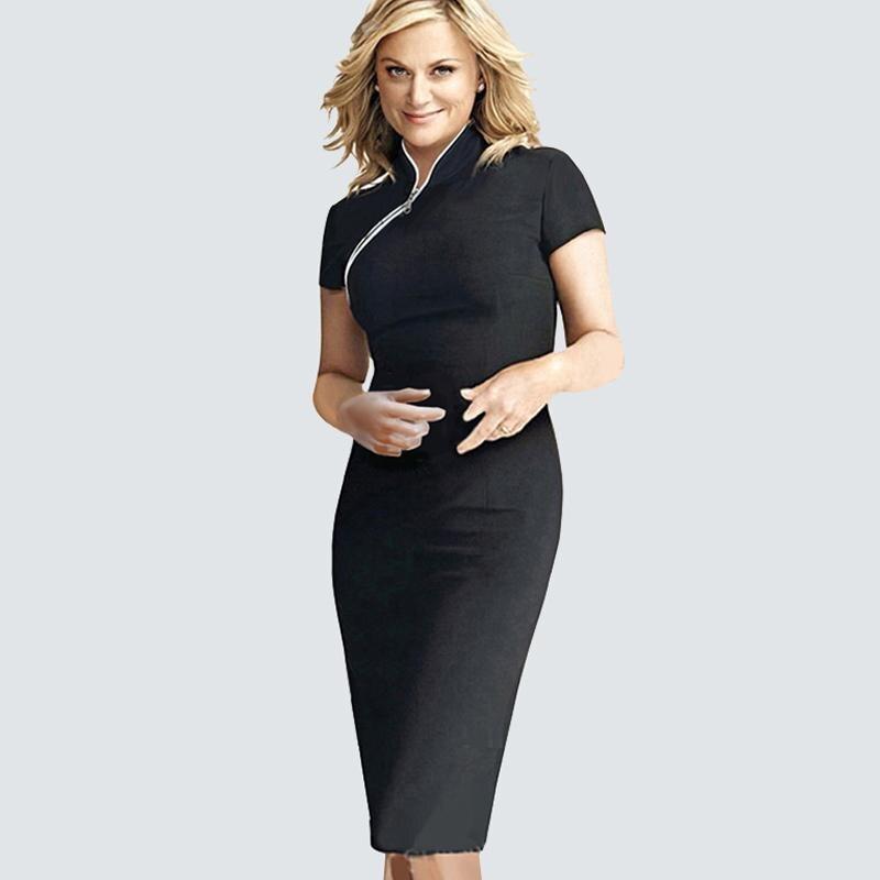 Женская повседневная одежда на молнии спереди для работы, деловое офисное платье, летнее винтажное облегающее платье-карандаш HB60 - Цвет: Black