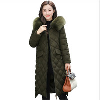 Women Winter Jackets And Coats Warm Slim Quilted Parka Furry Hooded Coat Long Ladies Split Jacket