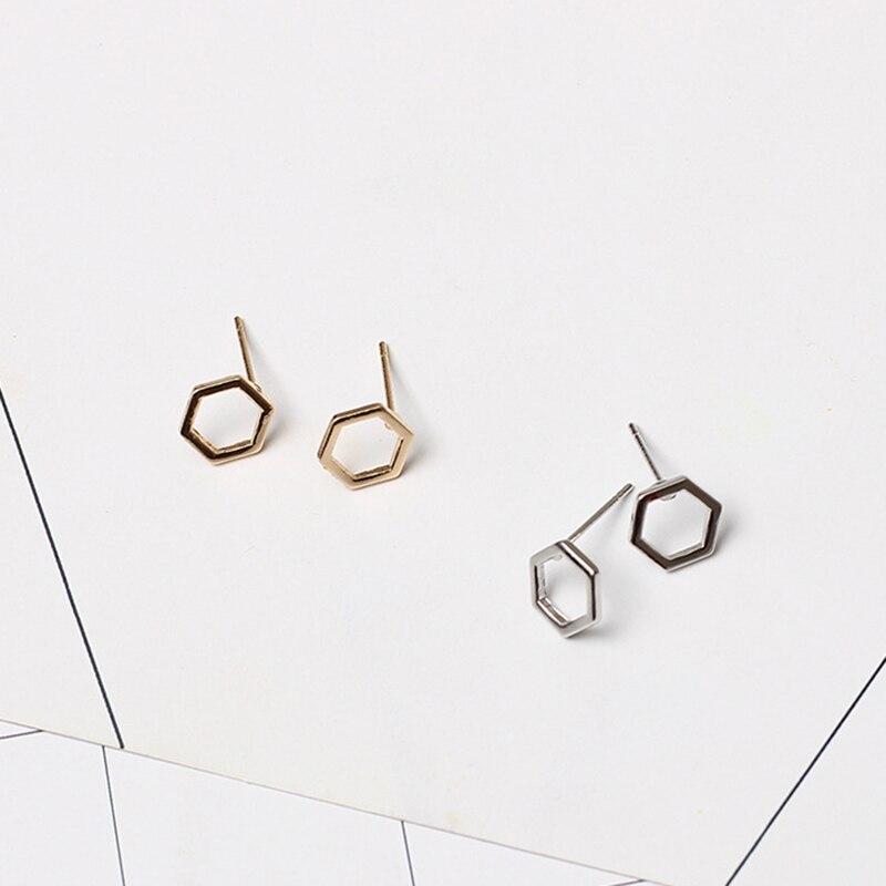 Simple Korean Creative Geometric Hexagon Stud Earrings for Women Small Ear Studs Earing Brincos Ear Jewelry Girls Gift RY37