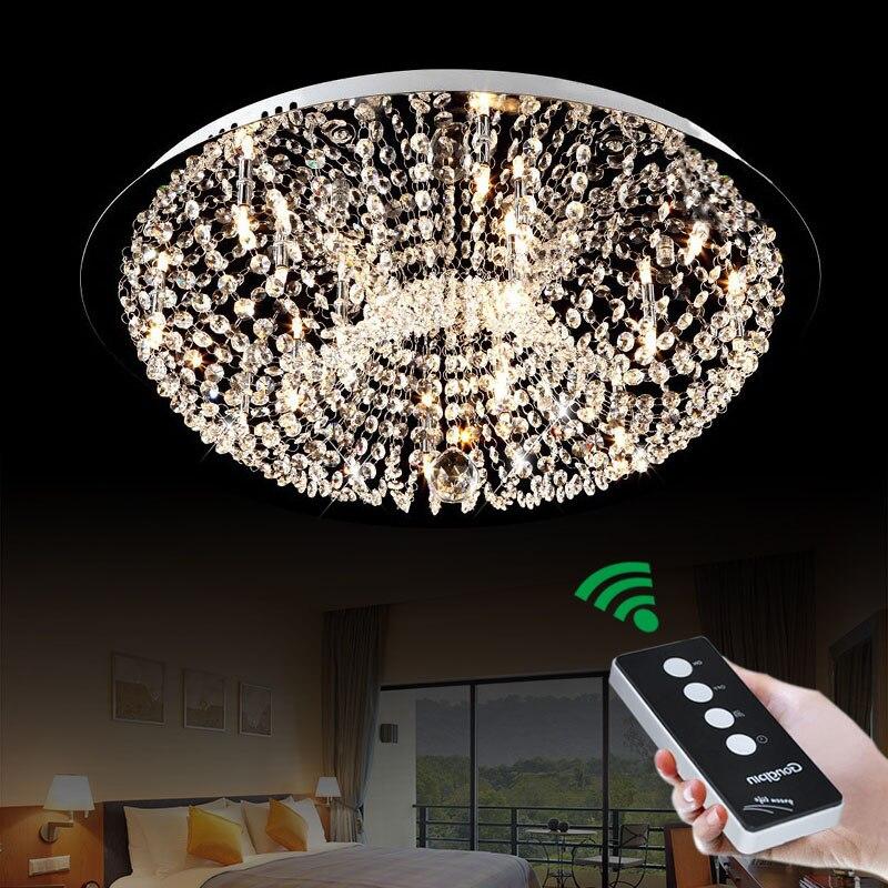 Simple and modern G4 LED remote circular creative warm bedroom study crystal lamp lighting ceiling lamps lighting fixture led circular ceiling wooden lighting lamps