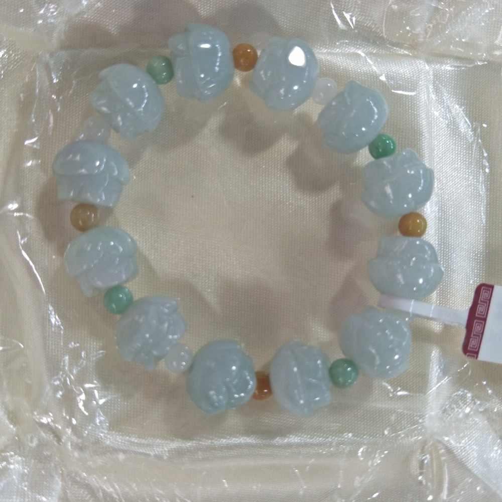ธรรมชาติ jadeite สามสี lotus สร้อยข้อมือ Fu Lu Shou Zhu string แท้พม่าหยก lotus hand string