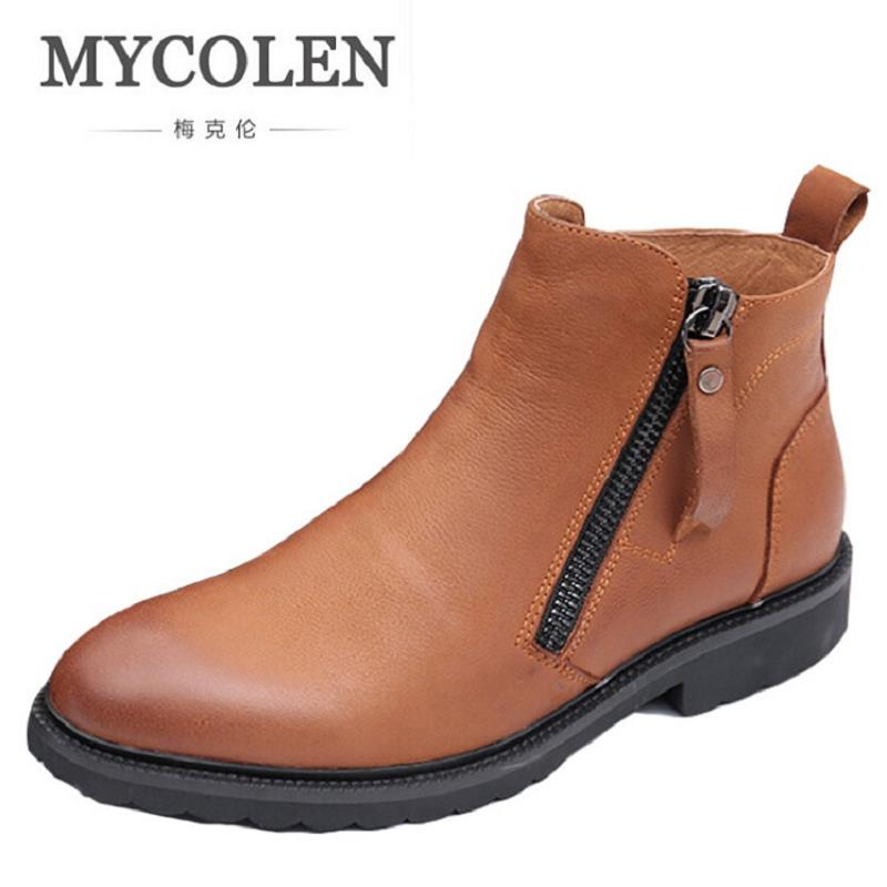 MYCOLEN Chelsea Boots Genuine Leather Men Winter Boots Comfortable Ankle Boots Luxury Men Winter Shoes Zapatillas Hombre Casual new fashion men luxury brand casual shoes men non slip breathable genuine leather casual shoes ankle boots zapatos hombre 3s88